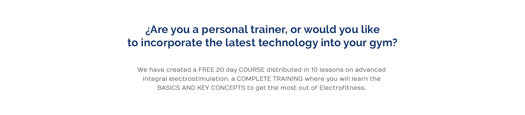 Free electrofitness course distributed in 10 sessions by email